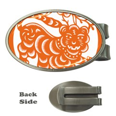 Chinese Zodiac Signs Tiger Star Orangehoroscope Money Clips (oval)  by Mariart