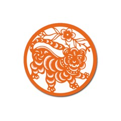 Chinese Zodiac Signs Tiger Star Orangehoroscope Magnet 3  (round) by Mariart