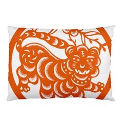 Chinese Zodiac Signs Tiger Star Orangehoroscope Pillow Case by Mariart