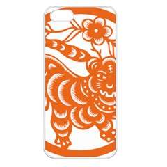 Chinese Zodiac Signs Tiger Star Orangehoroscope Apple Iphone 5 Seamless Case (white) by Mariart