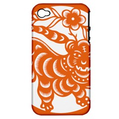 Chinese Zodiac Signs Tiger Star Orangehoroscope Apple Iphone 4/4s Hardshell Case (pc+silicone) by Mariart