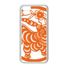 Chinese Zodiac Signs Tiger Star Orangehoroscope Apple Iphone 5c Seamless Case (white) by Mariart