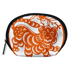 Chinese Zodiac Signs Tiger Star Orangehoroscope Accessory Pouches (medium)  by Mariart
