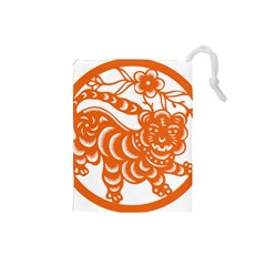 Chinese Zodiac Signs Tiger Star Orangehoroscope Drawstring Pouches (small)  by Mariart