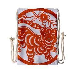Chinese Zodiac Signs Tiger Star Orangehoroscope Drawstring Bag (small) by Mariart