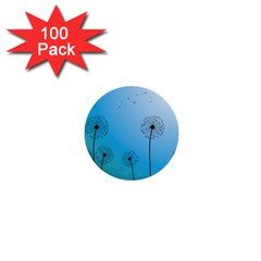 Flower Back Blue Green Sun Fly 1  Mini Buttons (100 Pack)  by Mariart
