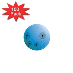 Flower Back Blue Green Sun Fly 1  Mini Magnets (100 Pack)  by Mariart