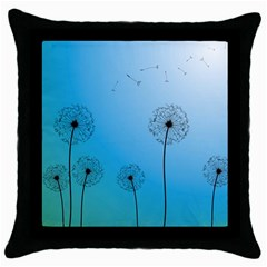 Flower Back Blue Green Sun Fly Throw Pillow Case (black) by Mariart