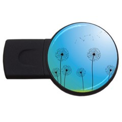 Flower Back Blue Green Sun Fly Usb Flash Drive Round (2 Gb) by Mariart
