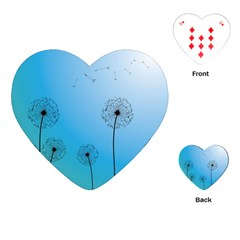 Flower Back Blue Green Sun Fly Playing Cards (heart)  by Mariart