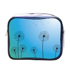 Flower Back Blue Green Sun Fly Mini Toiletries Bags by Mariart
