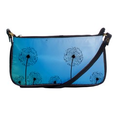 Flower Back Blue Green Sun Fly Shoulder Clutch Bags by Mariart