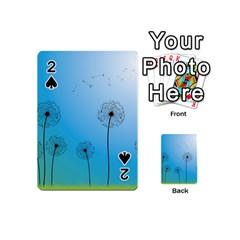 Flower Back Blue Green Sun Fly Playing Cards 54 (mini)  by Mariart