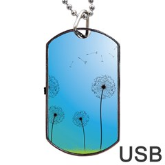 Flower Back Blue Green Sun Fly Dog Tag Usb Flash (two Sides) by Mariart