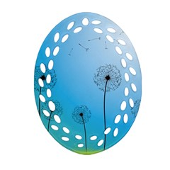 Flower Back Blue Green Sun Fly Ornament (oval Filigree) by Mariart