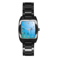 Flower Back Blue Green Sun Fly Stainless Steel Barrel Watch by Mariart