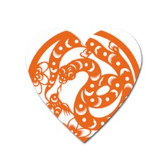 Chinese Zodiac Horoscope Snake Star Orange Heart Magnet by Mariart