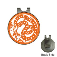 Chinese Zodiac Horoscope Snake Star Orange Hat Clips With Golf Markers by Mariart