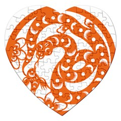 Chinese Zodiac Horoscope Snake Star Orange Jigsaw Puzzle (heart) by Mariart