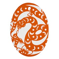 Chinese Zodiac Horoscope Snake Star Orange Oval Ornament (two Sides) by Mariart