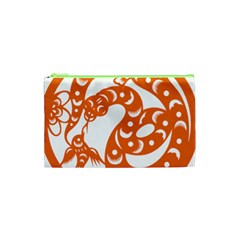 Chinese Zodiac Horoscope Snake Star Orange Cosmetic Bag (xs) by Mariart