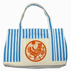 Chinese Zodiac Horoscope Zhen Icon Star Orangechicken Striped Blue Tote Bag by Mariart