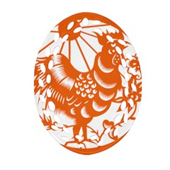 Chinese Zodiac Horoscope Zhen Icon Star Orangechicken Oval Filigree Ornament (two Sides) by Mariart