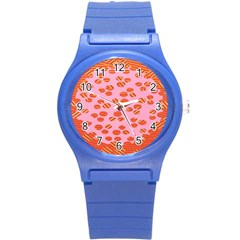 Distance Absence Sea Holes Polka Dot Line Circle Orange Chevron Wave Round Plastic Sport Watch (s) by Mariart