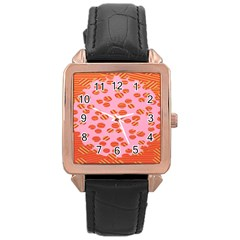 Distance Absence Sea Holes Polka Dot Line Circle Orange Chevron Wave Rose Gold Leather Watch  by Mariart