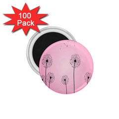 Flower Back Pink Sun Fly 1 75  Magnets (100 Pack)  by Mariart