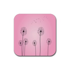 Flower Back Pink Sun Fly Rubber Square Coaster (4 Pack)  by Mariart