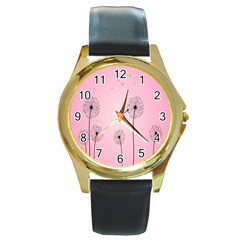 Flower Back Pink Sun Fly Round Gold Metal Watch by Mariart