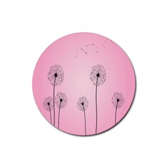 Flower Back Pink Sun Fly Rubber Round Coaster (4 Pack)  by Mariart