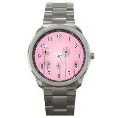 Flower Back Pink Sun Fly Sport Metal Watch by Mariart