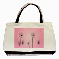 Flower Back Pink Sun Fly Basic Tote Bag (two Sides) by Mariart