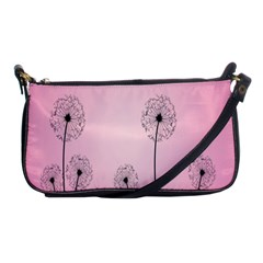 Flower Back Pink Sun Fly Shoulder Clutch Bags by Mariart