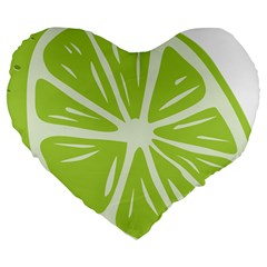 Gerald Lime Green Large 19  Premium Flano Heart Shape Cushions by Mariart