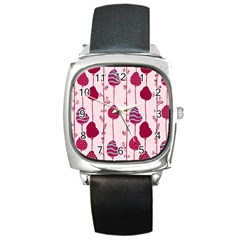 Flower Floral Mpink Frame Square Metal Watch by Mariart