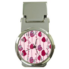Flower Floral Mpink Frame Money Clip Watches by Mariart