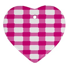 Hot Pink Brush Stroke Plaid Tech White Ornament (heart) by Mariart
