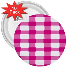 Hot Pink Brush Stroke Plaid Tech White 3  Buttons (10 Pack)  by Mariart