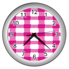 Hot Pink Brush Stroke Plaid Tech White Wall Clocks (silver)  by Mariart