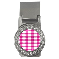 Hot Pink Brush Stroke Plaid Tech White Money Clips (cz)  by Mariart