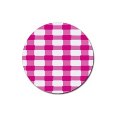Hot Pink Brush Stroke Plaid Tech White Rubber Round Coaster (4 Pack)  by Mariart