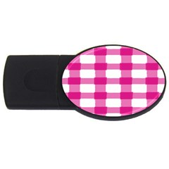 Hot Pink Brush Stroke Plaid Tech White Usb Flash Drive Oval (2 Gb) by Mariart