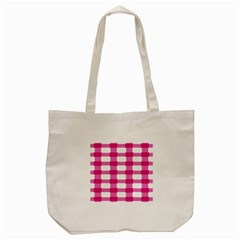 Hot Pink Brush Stroke Plaid Tech White Tote Bag (cream) by Mariart