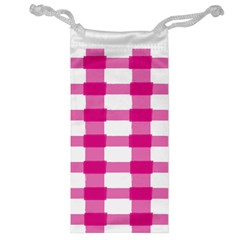 Hot Pink Brush Stroke Plaid Tech White Jewelry Bag by Mariart