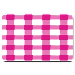 Hot Pink Brush Stroke Plaid Tech White Large Doormat  by Mariart