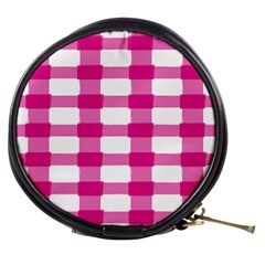 Hot Pink Brush Stroke Plaid Tech White Mini Makeup Bags by Mariart