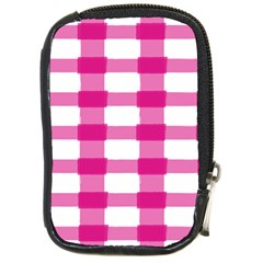 Hot Pink Brush Stroke Plaid Tech White Compact Camera Cases by Mariart
